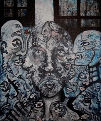 """johanne joe - Série """"La toile publique"""" """"Sous l'oeil de Bach"""" Créée le 13.11.2016, sur toile 50 x 60, Huile, acrylique, encre de Chine, bombe aérosol"""